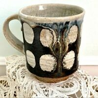 Handcrafted Pottery Coffee Mug Drip Glaze Polka Dots