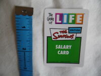 Game of Life Simpsons Edition MB Games Salary Cards x 9 (Cards Only)