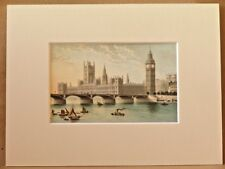 HOUSES OF PARLIAMENT AND WESTMINSTER BRIDGE LONDON ANTIQUE 1889 MOUNTED CHROMO