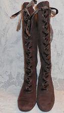 "Aerosoles lace up zip up Boots 5.5M Brown Suede 2 3/4""  Heel CUTE velvet laces"