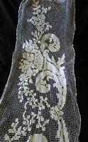 Pretty Antique French Long Handmade Cotton Crochet Table Runner c1900s