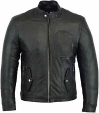 Pure Genuine Leather Mens Jacket Bikers Stylish Casual and Occasional Wear Black