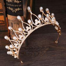 Luxury Baroque Rhinestone Crystal Bridal Tiaras Pearl Crown Wedding FashiES