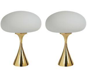 Pair of Mid-Century Modern Laurel Mushroom Table Lamps in Brass