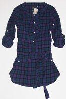 NWT! AMERICAN EAGLE AEO WOMENS AE Ruffled Plaid Tunic Shirt Top Purple 2