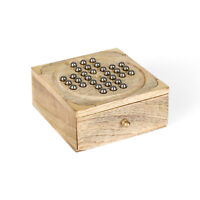 Penguin Home Wooden Solitaire Board Game with Stainless Steel Balls, Wood