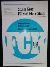 FC Karl Marx Stadt - Sturm Graz 1984 IFC Intertoto Programm DDR SELTEN
