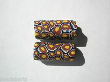 Antique Venetian Millefiori Trade Beads, Cobalt/Brick/Maize - 23-24x11mm - 2