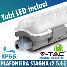 PLAFONIERA STAGNA + 2 TUBI NEON LED 60CM 120CM 150CM VTAC PLAFONIERE SOFFITTO
