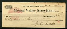 US MOUND VALLEY STATE BANK OF MOUND VALLEY, KANSAS CANCELLED CHECK 6/19/1919