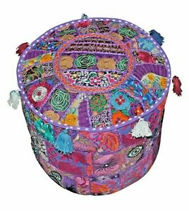 Old Patchwork Throw Vintage Large Pouf Ottoman Foot Stool Kantha Pouffe Covers