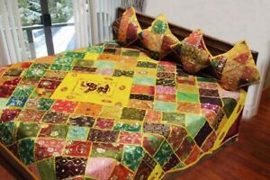 33% OFF 5 PC RARE SARI BEADED EMBROIDERED BEDSPREAD COVERLET QUILT THROW BLANKET