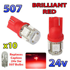 10 x RED 24v Capless Side Light 507 501 W5W 5 SMD T10 Wedge Bulbs HGV Truck