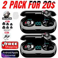2021 TWS Wireless Bluetooth 5.0 Headset Earphones Touch Earbuds Headphone -2PACK