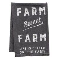 FARM SWEET FARM Gray Kitchen Dish Hand Towel Primitive Cotton Farmhouse Country
