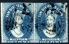 More details for 1855 tazmania sg 18 4d blue fine used pair