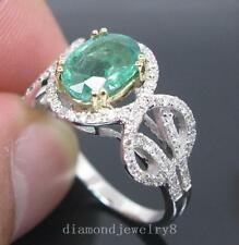 2.60ct Solid 14K 2 Tone Gold Genuine Natural Emerald Engagement Diamonds Ring