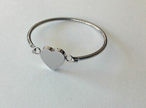 PERSONALISED PHOTO/TEXT ENGRAVED STAINLESS STEEL HEART BANGLE BRACELET