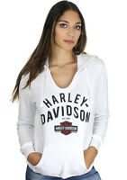 Harley-Davidson Womens Stenciled Trademark B&S Pullover White Long Sleeve Hoodie