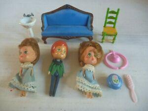THE LITTLES vintage MATTEL toy figure doll PARTS LOT house furniture FLOSSIE MR