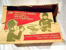 Vintage Remco Marine Raider Helmet-Mess Kit-Canteen Kit w/Original Box