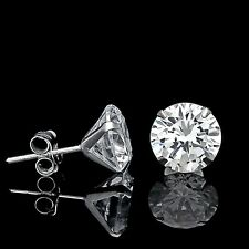 2.5Ct Round-Cut Created Diamond Stud Earrings 14K White Gold Light Prong Martini