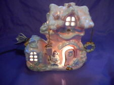 """DESIGNSPIRATIONS CERAMIC SHABBY CHIC COTTAGE PASTEL BOOT LIGHTED HOUSE 7""""H"""