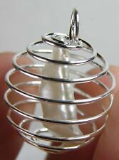 Asia 100% Natural Rough Raw Uncut Pearl Crystal Specimen in Spiral Cage Pendant