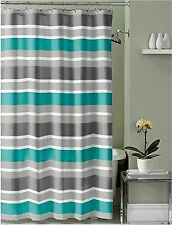 Teal Charcoal Grey White Embossed Fabric Shower Curtain: Striped Design