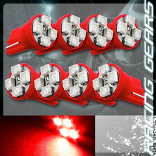 8x For Chevy Ford Red SMD 4 LED T10 Wedge Interior Map Panel Gauge Light Bulbs