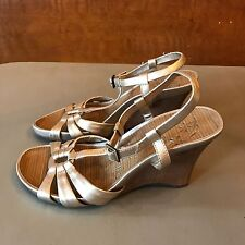 Kenneth Cole Reaction Gold Wedges ~ Size 9.5 'Limme A Sec' Strap Women's Sandals