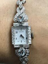 Ladies Vintage, Estate, Antique Platinum Diamond and Aquamarine Hamilton Watch