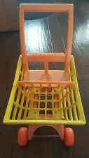 Vintage 1972 Mattel Tuff Stuff Shopper Toy Shopping Cart Yellow Orange