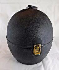 Vtg Mod 60s Mid Century Black Hardshell Oval Egg Wig Hat Box Carry Travel Case