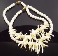 Vintage 2 White Jade Beads & Biwa Pearls Choker Necklaces