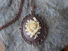 CREAM COLORED ROSE ON BROWN CAMEO COPPER PENDANT NECKLACE