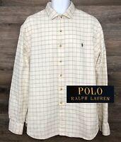 Polo Ralph Lauren Men Slim Fit Cream Plaid Long Sleeve Button Down Shirt 2XL XXL