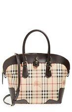 $1395 BURBERRY Medium Primrose Haymarket Check Shoulder Tote Crossbody Bag ITALY