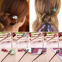 Women Vintage Tassels Hair Sticks Wooden Hairpin Crystal Flower/Hair Accessories