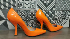 Casadei Italian designer patent leather orange shoes 37.5 italian size 4.5uk NEW