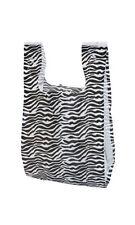 "Count of 1000 Zebra Print Plastic T-Shirt Bags - Small 8"" x 5"" x 16"""
