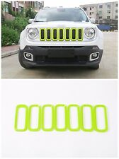 For Jeep Renegade 2015-18 Car Front Grille Inserts Mesh Grill Accessories Green