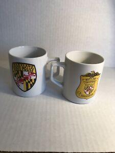 Vintage Rare Lot of 2 Maryland State Police Coffee Tea Cup Mug Maryland Troopers
