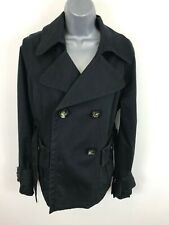 WOMENS BENETTON BLACK TRENCH COAT BUTTON UP BELTED JACKET SIZE 10