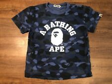 AUTHENTIC A Bathing Ape Blue Camo Shirt OG Youth Large BAPE Supreme Japan