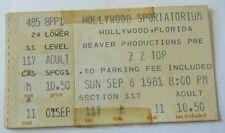 Zz Top Ticket Stub El Loco-Motion Tour September 6 1981 Hollywood Florida #2557