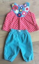 Baby Boden 0-3-6 months cord trousers blouse top set summer green floral spotty