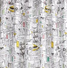 DKNY Broadway New York Fabric Shower Curtain Modern Cityscape Taxi About Town
