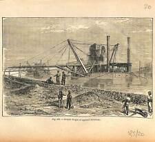 Grande drague & appareil élévateur chantier du Canal de Suez Egypte GRAVURE 1884