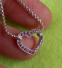 "David Yurman Sterling Petite Heart Station Necklace w/Pink Sapphires 17/18""adj"